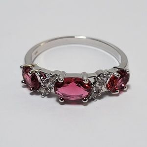14K White Gold Plated Ruby Diamond Ring Size 7